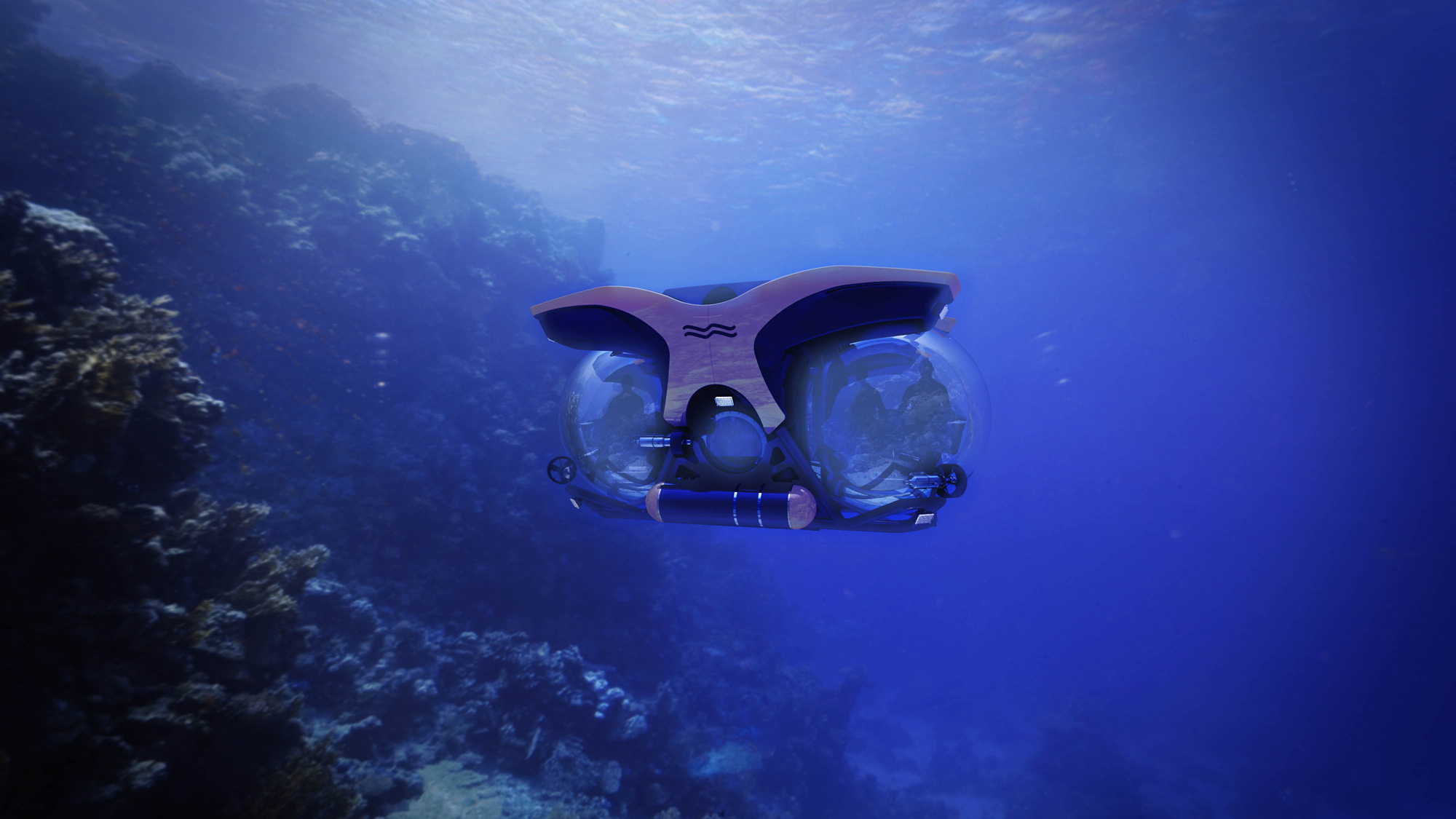 uboat worx submersible exploring a reef