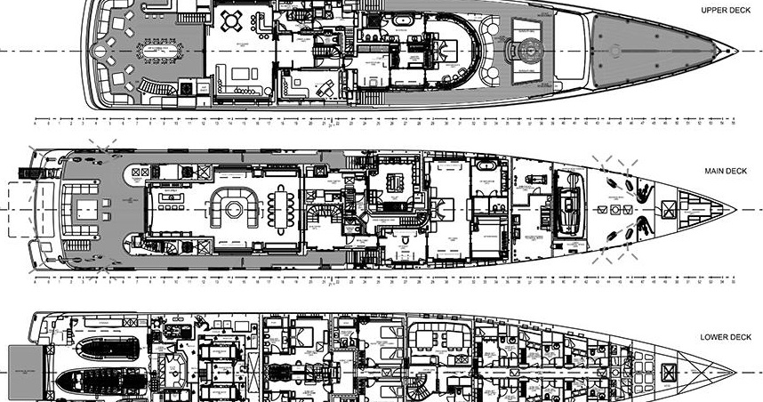 example deck plans for a superyacht project to integrate new yacht toys and technology into a superyachts' deck plan and systems