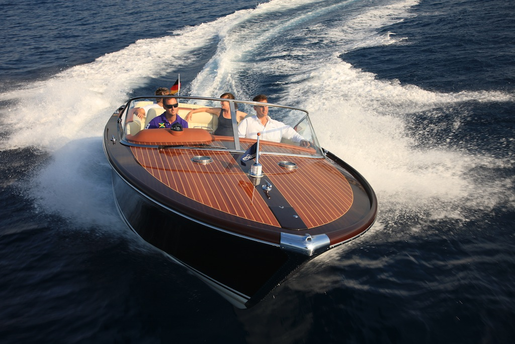 classic speed boat for enjoying the water from a luxury yacht