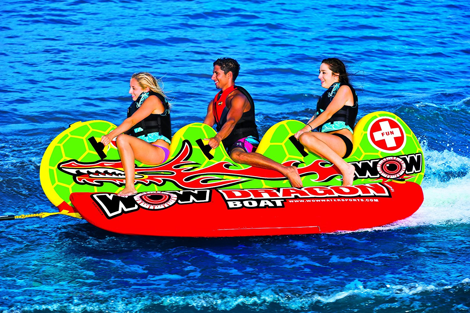 WOW Dragon Boat Towable Tube is a 3-seater water toy