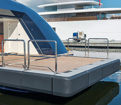 custom mooring systems can include custom transom fenders for luxury yachts